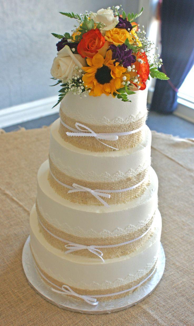 Cakes With Burlap Country wedding, burlap wedding cake