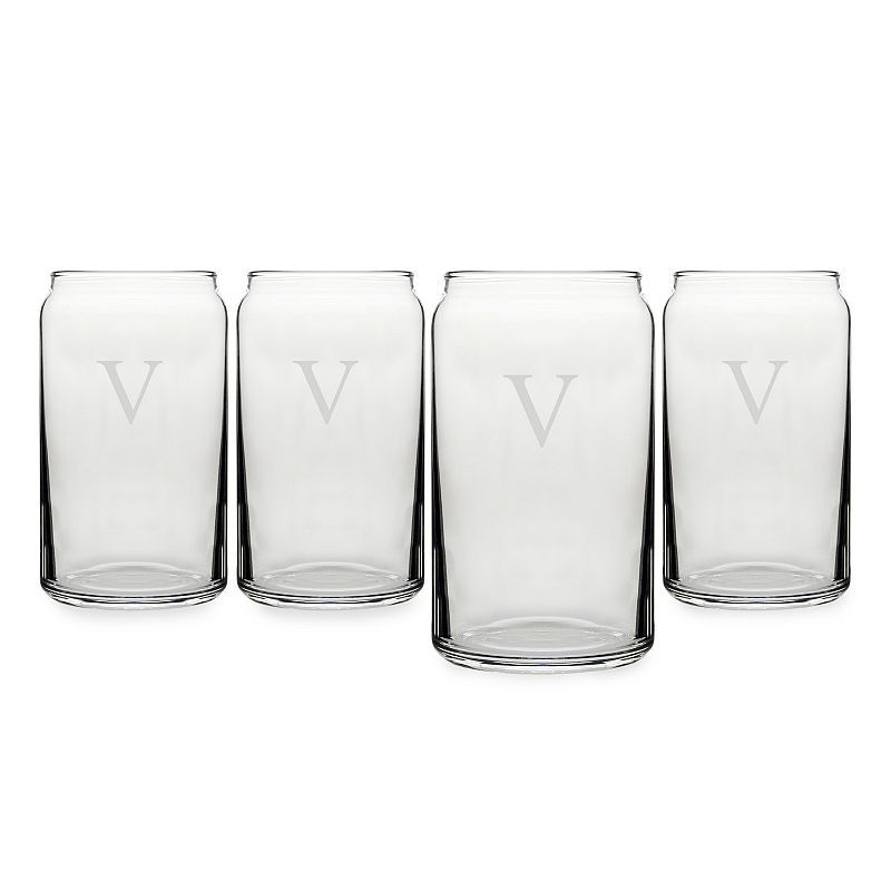Cathy's Concepts Monogram 4-pc. Craft Beer Can Glass Set, White
