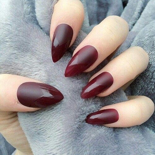 almond acrylic nails dark red matte