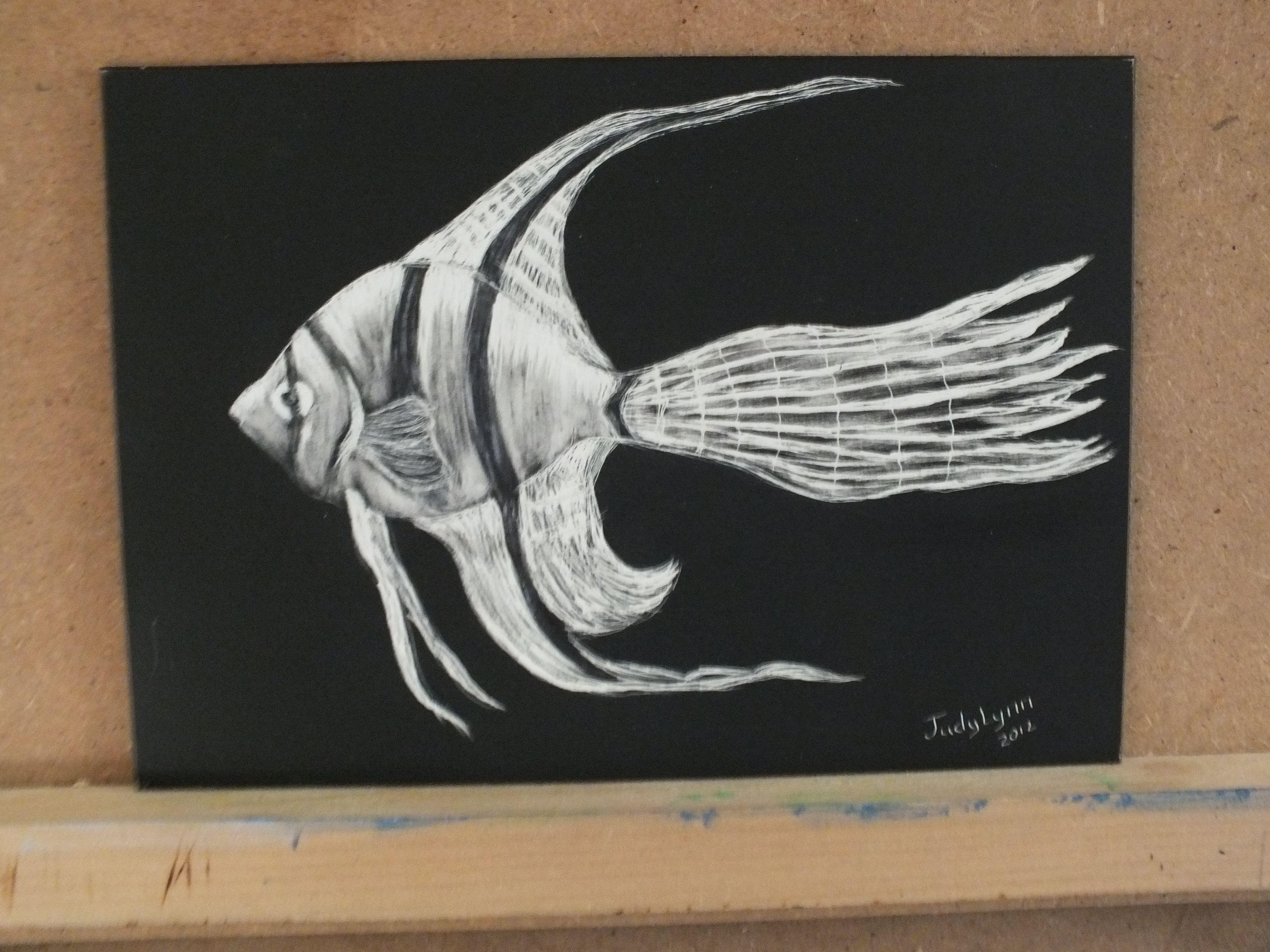 Hand Rendered Stock Scratchboard Art - Fish Bowl