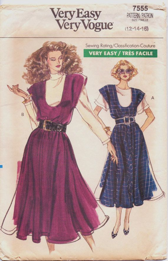 1980s Very Easy Very Vogue Sewing Pattern 7555 Womens Jumper & Top ...