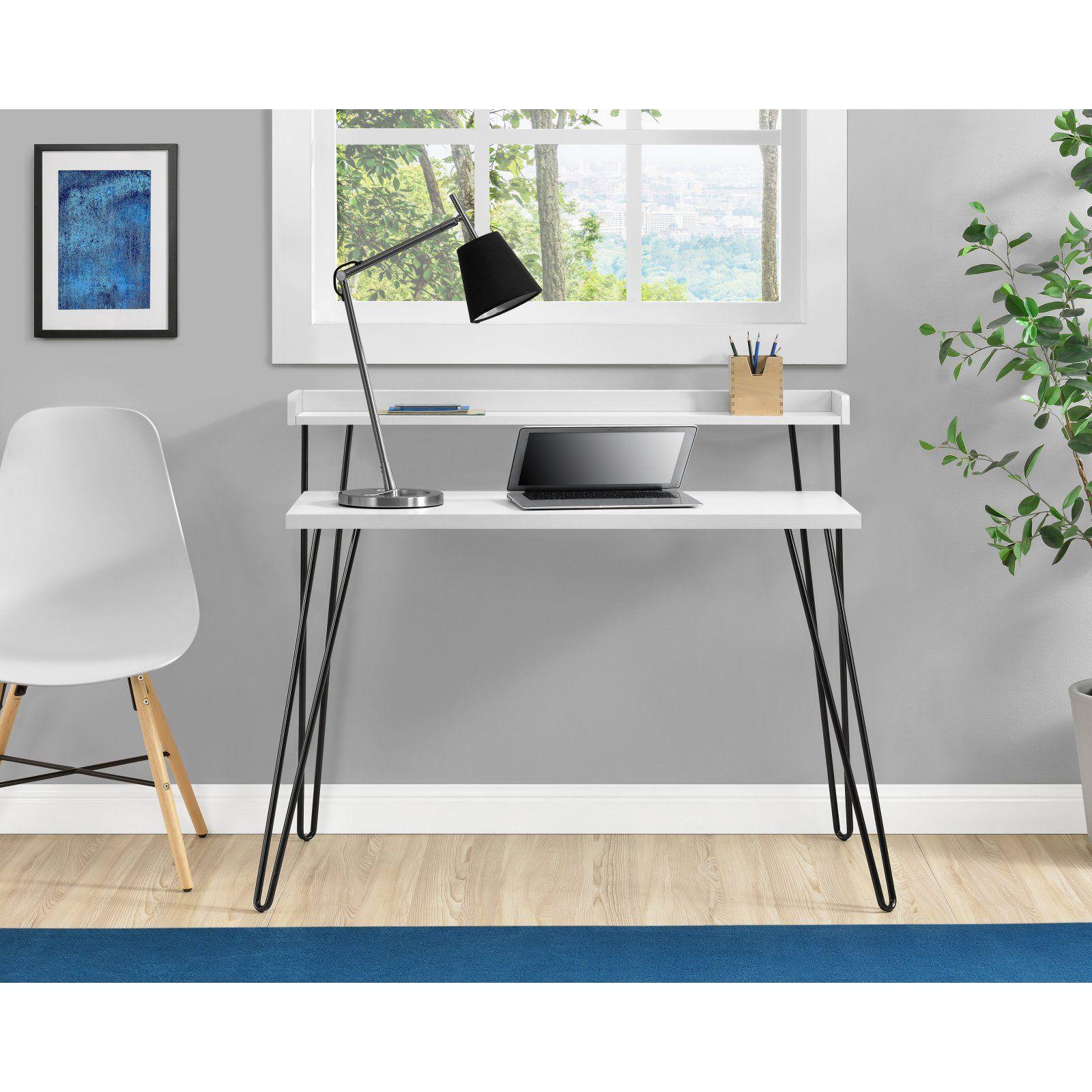 Ameriwood Home Haven Retro Desk with Riser White