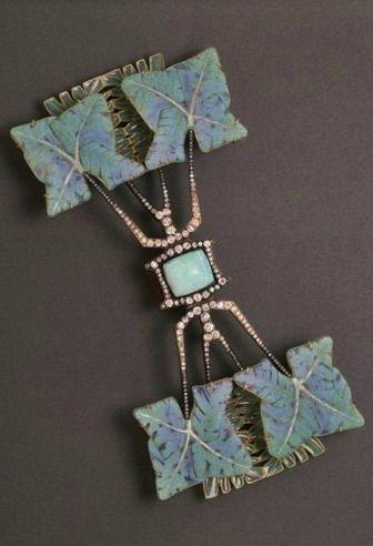 """Rene Lalique, """"Fern Leaf"""" Brooch. Enamel, gold, diamonds, and opal, ca. 1903-1904"""