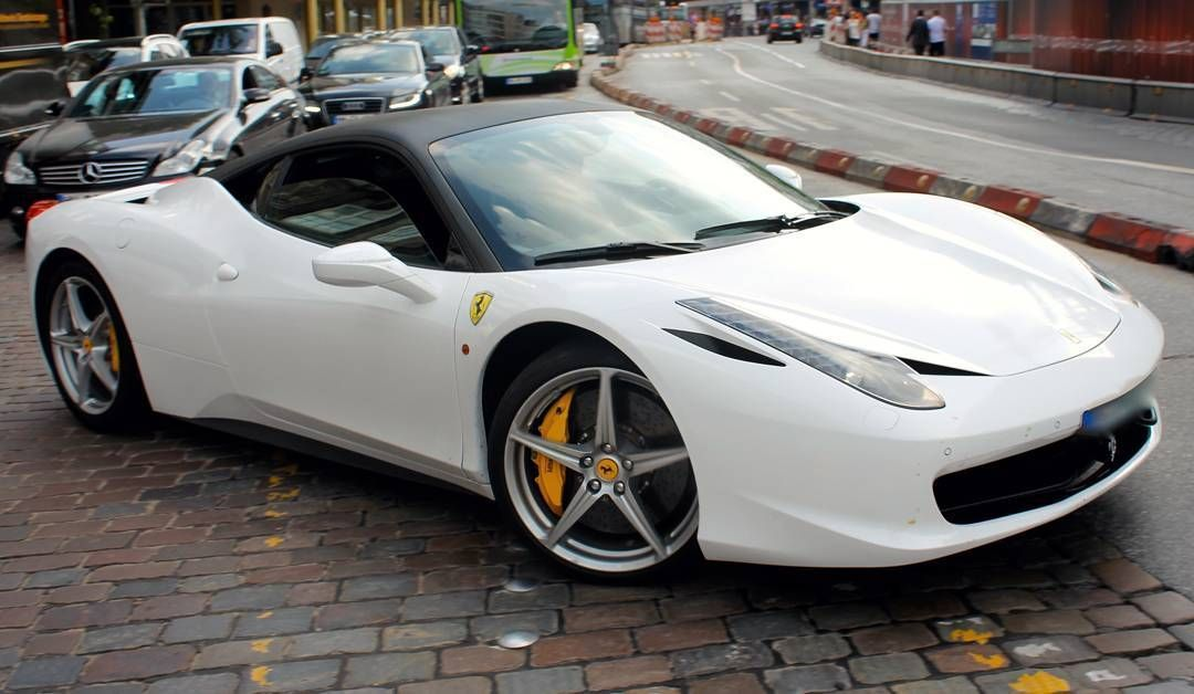 Awesome White Ferrari 458 Italia With Black Roof Car Carspotting