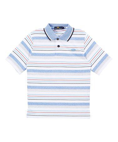 Another great find on #zulily! Blue & Red Stripe Polo - Toddler & Boys #zulilyfinds