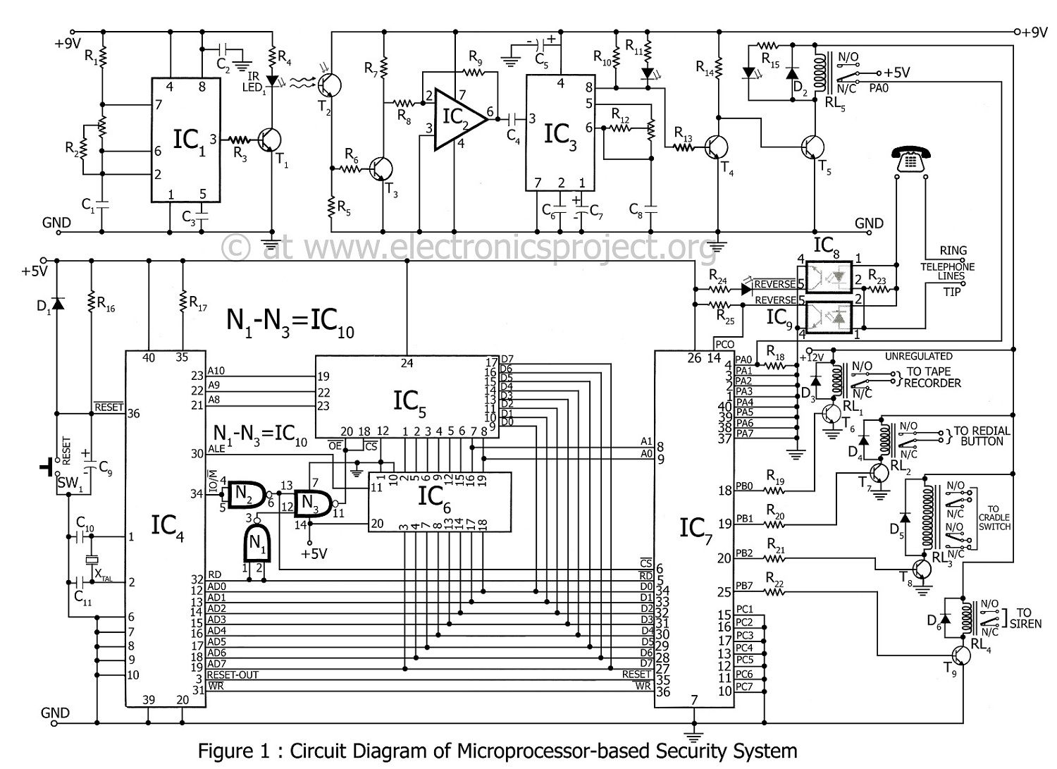 circuit diagram of microprocessor based security system