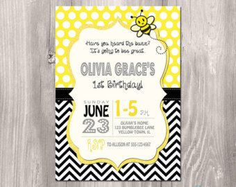 Bumblebee invitation beeday party pinterest bumble bee bumble bee birthday invitation bee birthday printable invitation bee invitation first birthday invitation girl first birthday invite filmwisefo Images