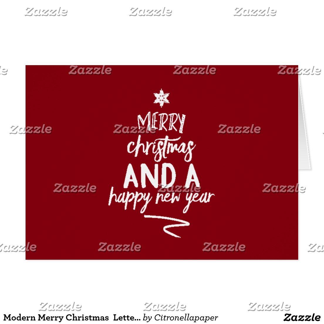 Modern Merry Christmas Lettering tree - Dark red   Custom MODERN ...