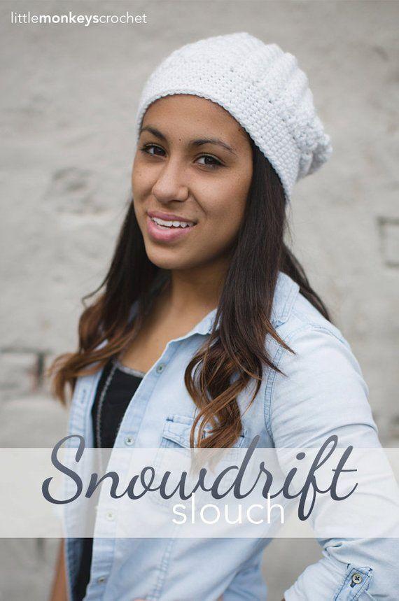 Pdf Slouchy Hat Crochet Pattern The Snowdrift Slouch Hat Crochet