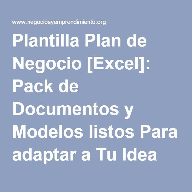 Plantilla Plan De Negocio Excel Pack De Documentos Y Modelos