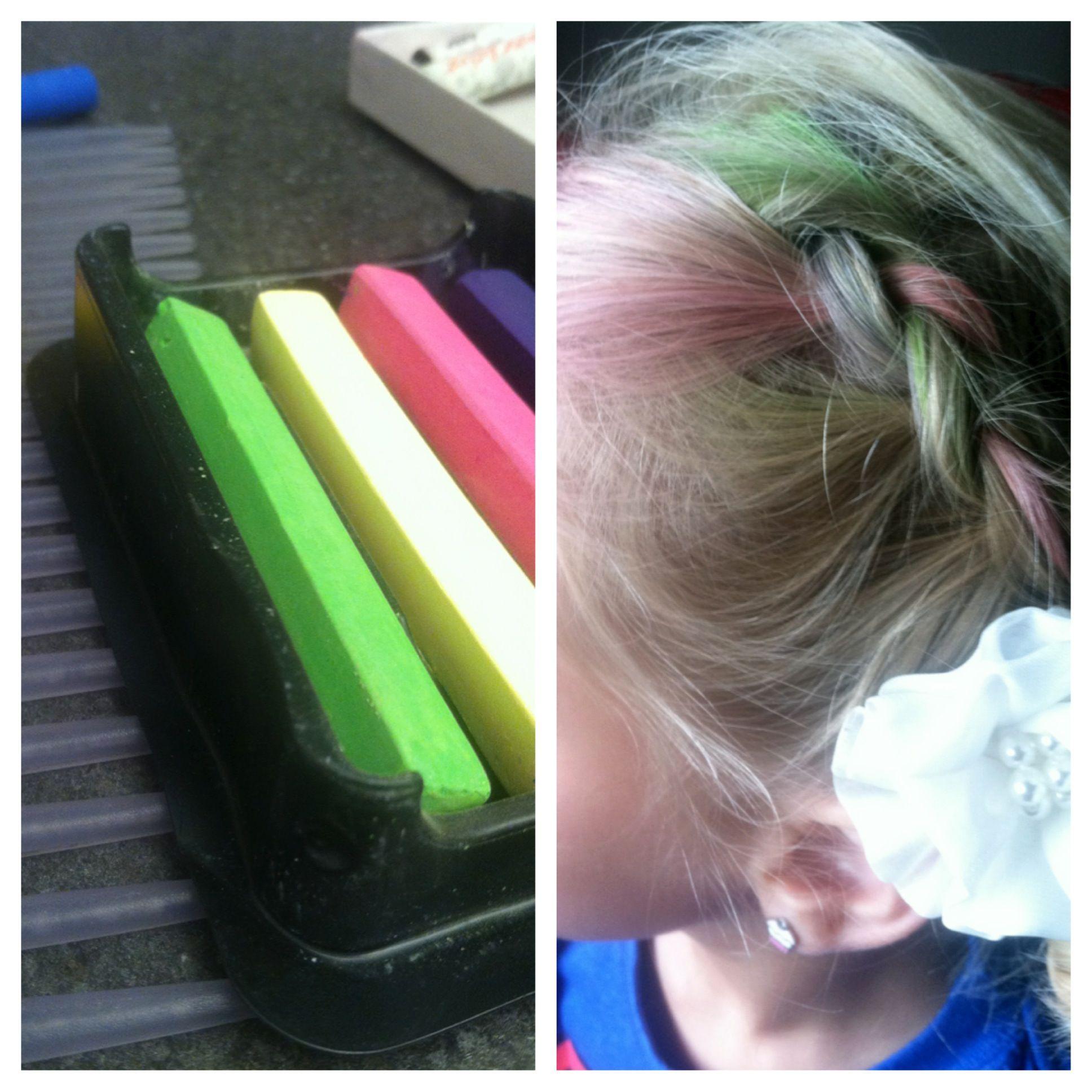 Chalk dyed hair, plus reverse braid!