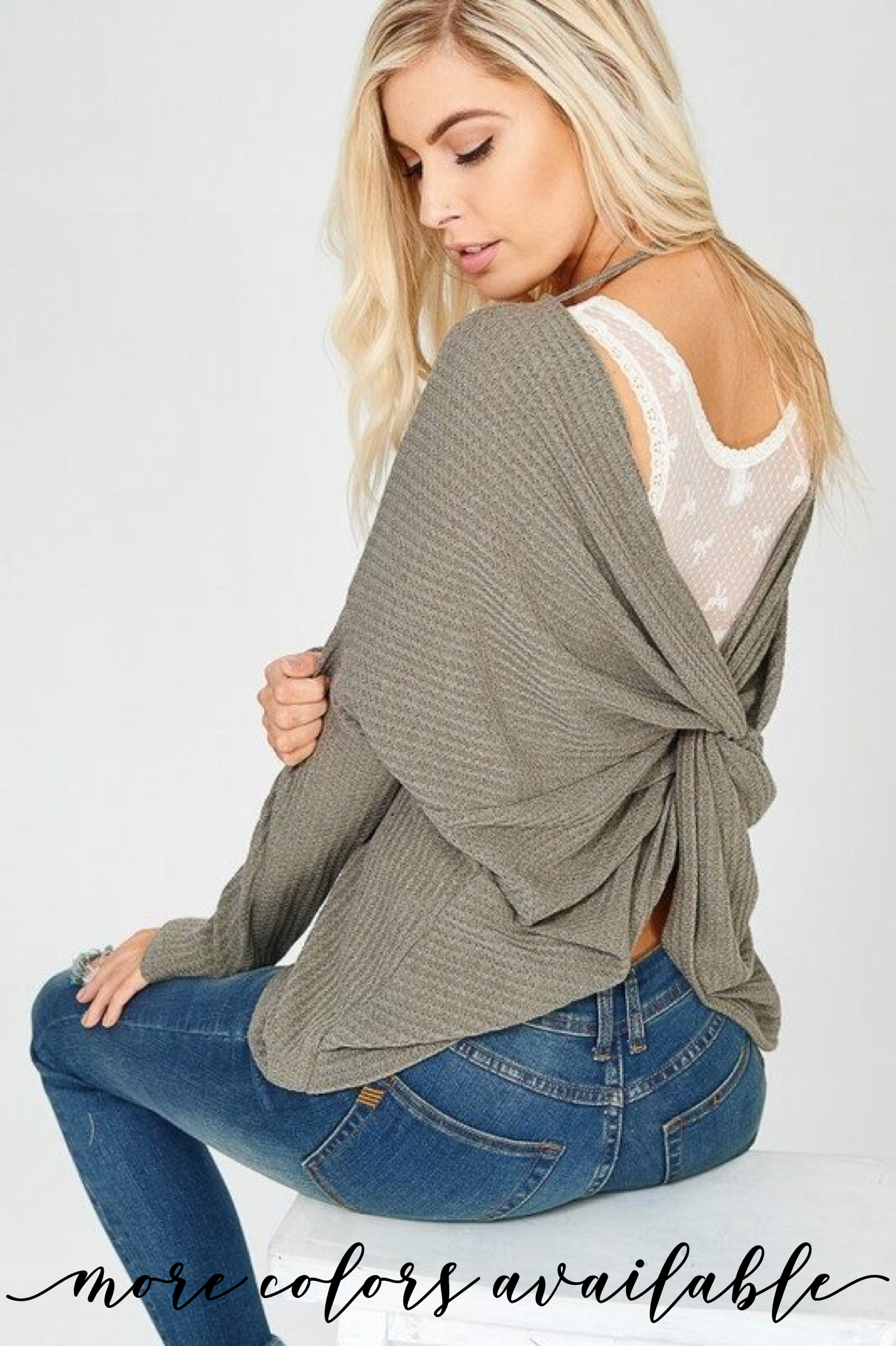 4a3c523def0 Knot Back Thermal | Products | Tops, Waffle knit, Sweaters