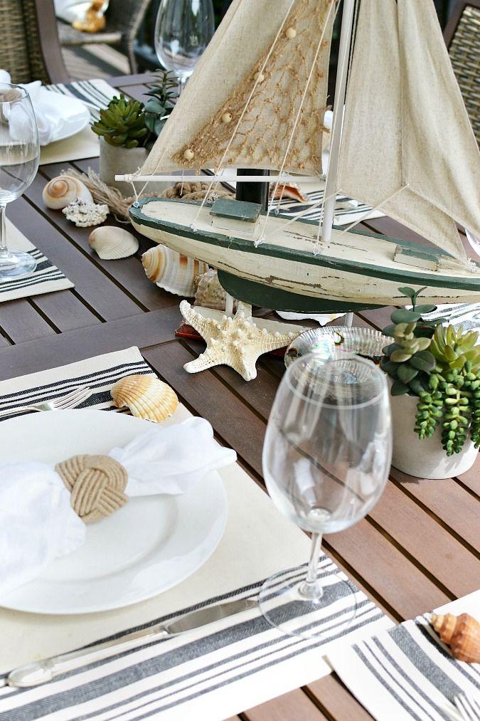 Verão temático náutico tablescape exterior
