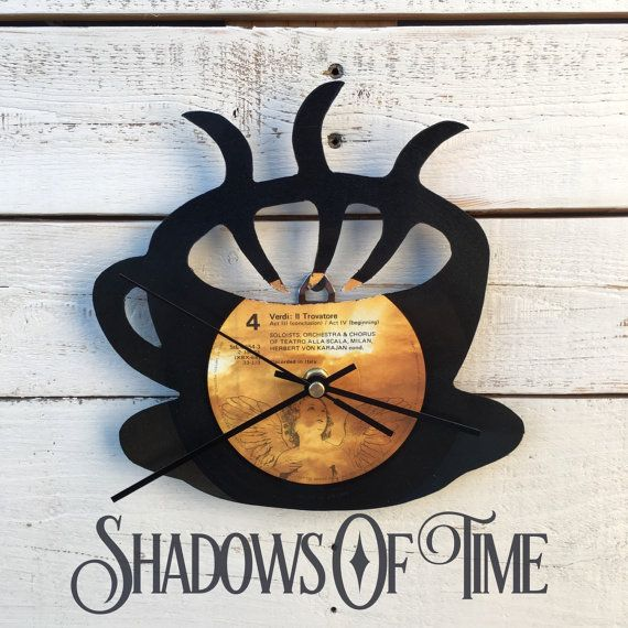 Steamy Coffee Mug Vinyl Record Clock: Upcycled Recycled Repurposed, Kitchen Themed Home Office Decor, Unique Wall Clock Mother's Day Gift