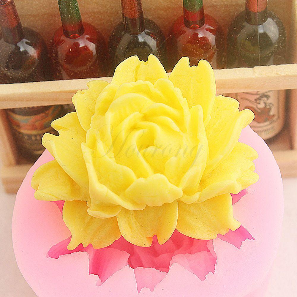 Big Rose Flower Soap Mould Flexible Silicone Fondant Cake