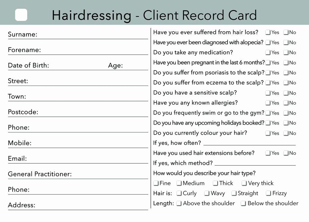Customer Info Card Template New Hairdressing Client Card Clients Record Salon Business Cards Hairstylists Hairstylist Business Cards Salon Business Cards