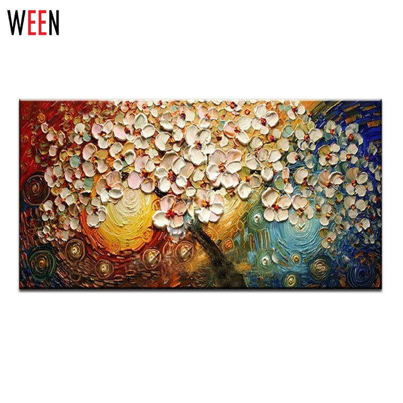 Modern hand painted oil painting fashion home decoration canvas wall art abstract drawing flowers tree also rh pinterest