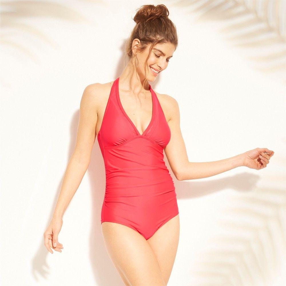 e5b491816 Women's Shirred Scallop Mesh One Piece Swimsuit - Kona Sol Blazing Coral  (Pink) XS