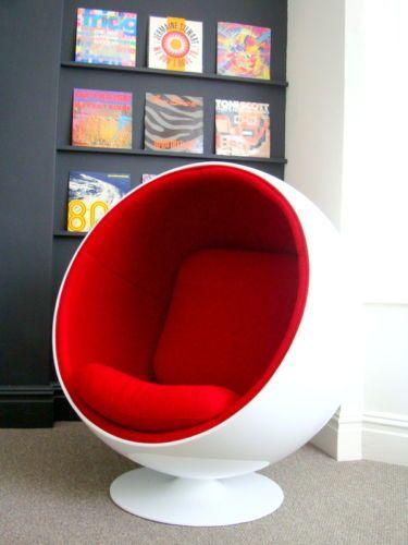 Stunning Eero Aarnio Ball Pod Egg Chair Armchair White Red Eames