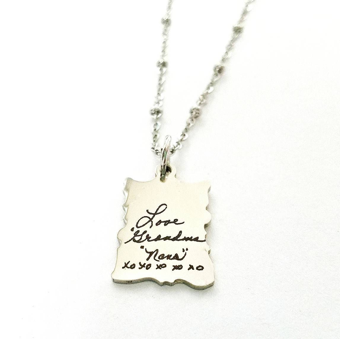 Memorial Necklace Hand Writing