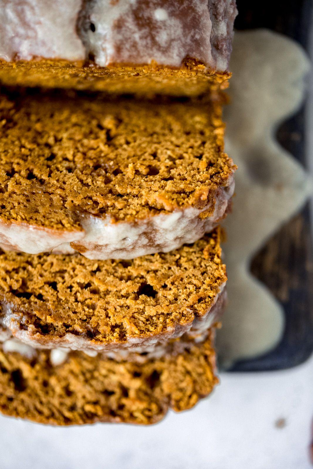 Healthy Pumpkin Bread with Maple Glaze