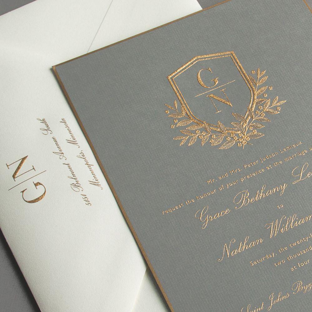 vera wang engraved gold bordered light grey wedding invitation - Vera Wang Wedding Invitations