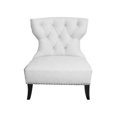 Diamond Sofa Zoey Accent Tufted White Leather Chair With Nailhead Accents  By AquaSuperstore.com $300
