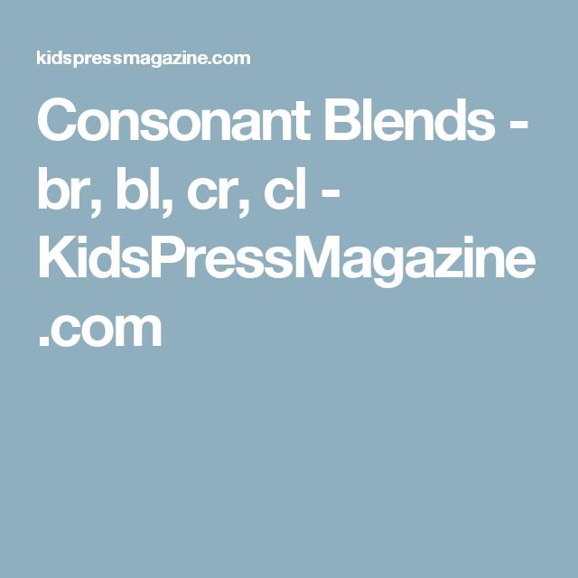 Consonant Blends - br, bl, cr, cl | Reading skills | Pinterest