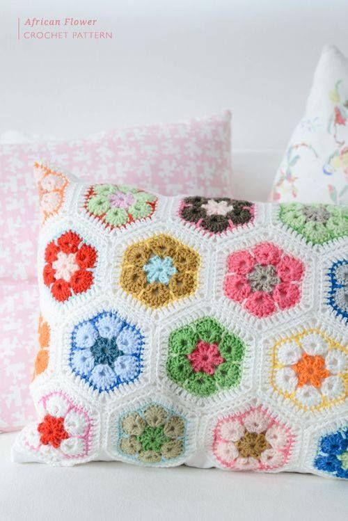 African Flower Crochet Pattern Pillows Pinterest African