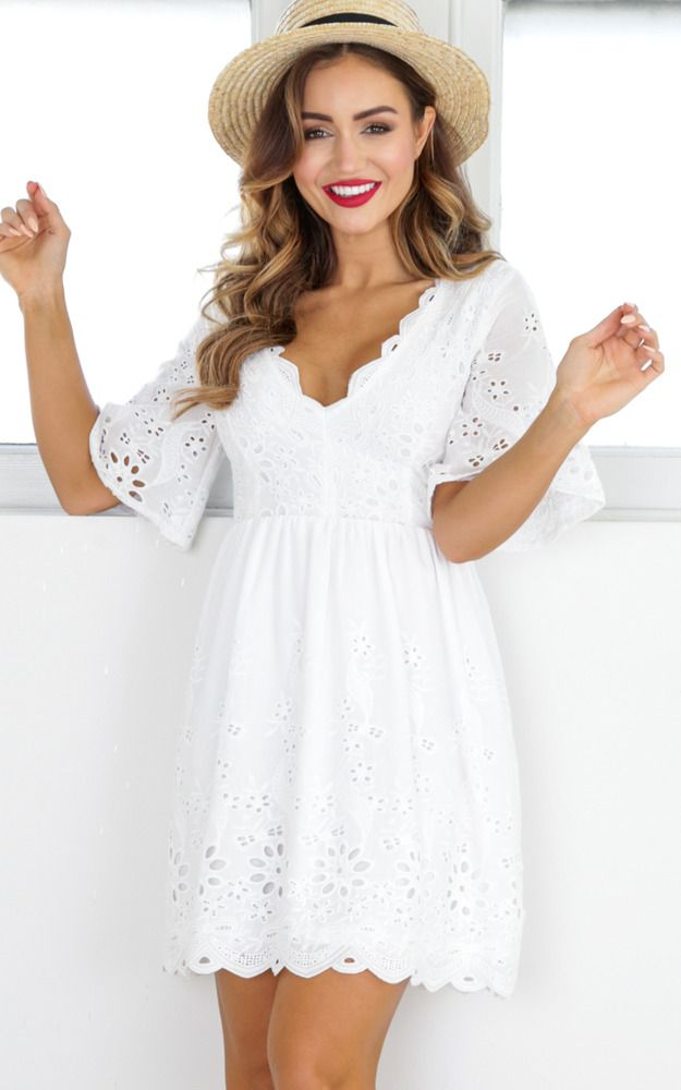a15963eefbe2 Showpo Ribbon In The Sky dress in white - 12 (L) Casual Dresses