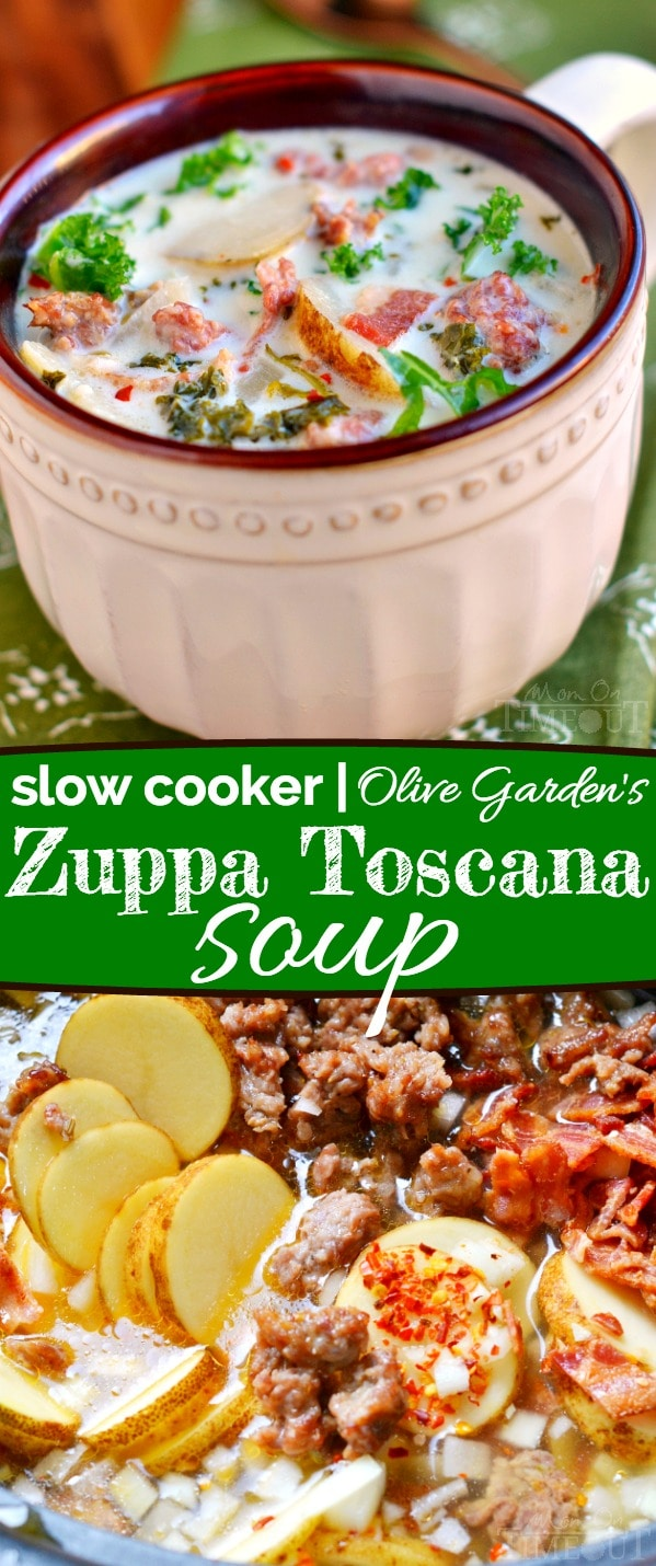 A crowd pleaser for sure! This Slow Cooker Olive Garden's Zuppa Toscana Soup is comfort food at it's best! // Mom On Timeout #recipe #soup #copycat #dinner #sausage #bacon #potatoes #kale #zuppatoscanasoup A crowd pleaser for sure! This Slow Cooker Olive Garden's Zuppa Toscana Soup is comfort food at it's best! // Mom On Timeout #recipe #soup #copycat #dinner #sausage #bacon #potatoes #kale #zuppatoscanasoup A crowd pleaser for sure! This Slow Cooker Olive Garden's Zuppa Toscana Soup is comfort #zuppatoscanasoup