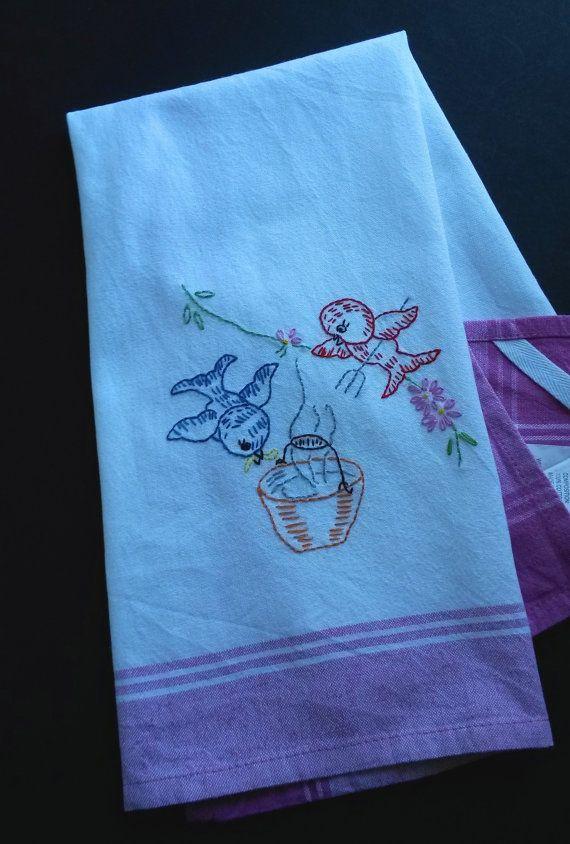Hand Embroidered Tea Towel Vintage By Hooksandroses On Etsy All Things Vintage Pinterest