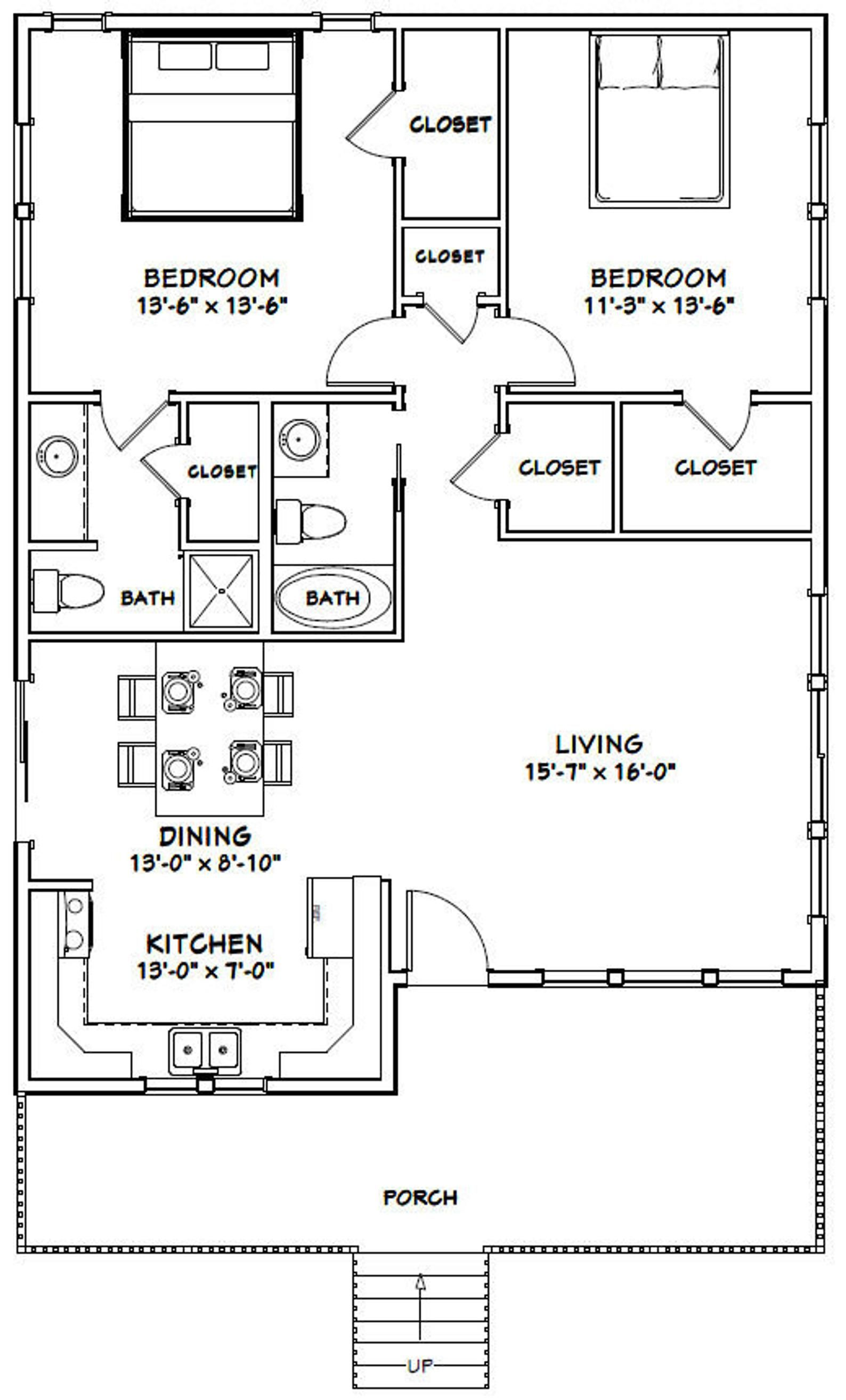 30x40 House 2 Bedroom 2 Bath 1 136 Sq Ft Pdf