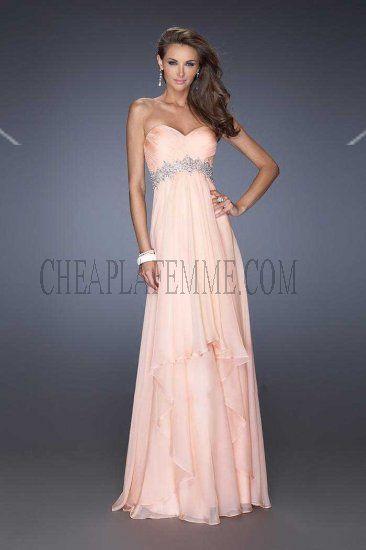 Apricot Strapless La Femme Style 19744 Chiffon Evening Dresses Cheap