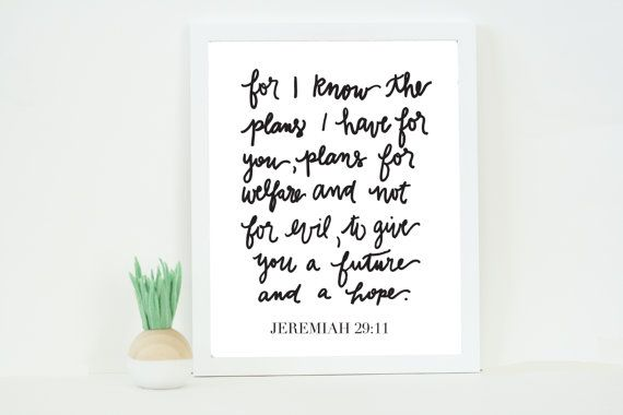 Jeremiah 29:11 5x7 or 8x10 Print by TheTabithaShop on Etsy