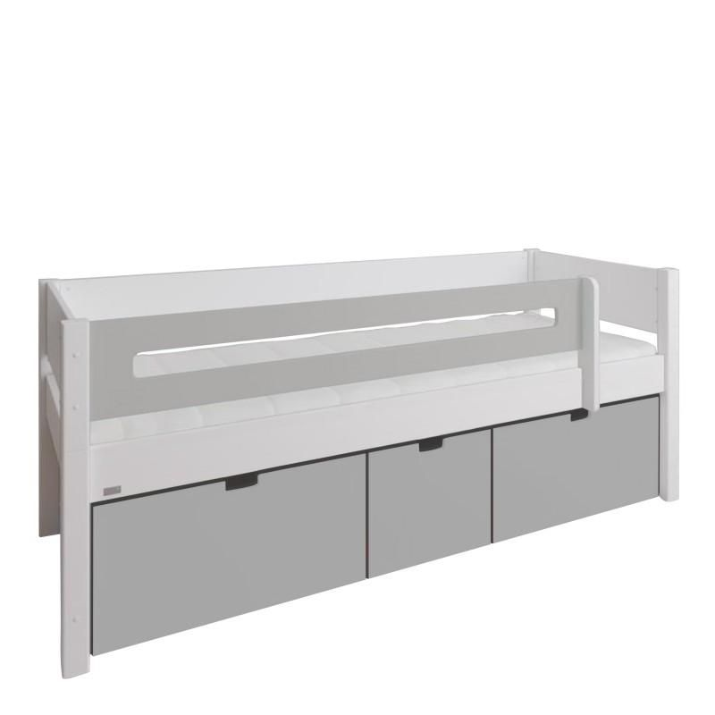 Photo of Manis-h Kids Day Bed with Safety Rail and 3 deep drawers – Grey