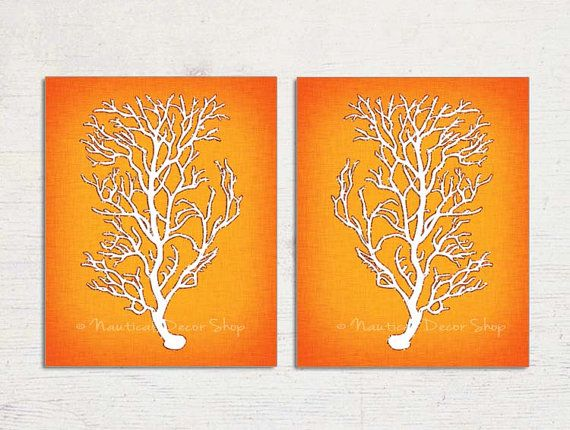 Orange Wall Art Orange Coral Orange Sea Coral By BeachHouseGallery, $19.99