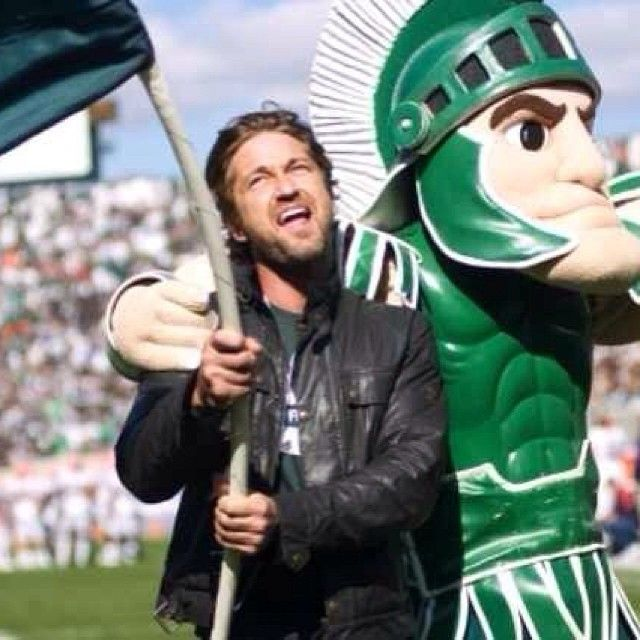 #Spartans what is your profession? #gogreen #msufootball  Gerard Butlers