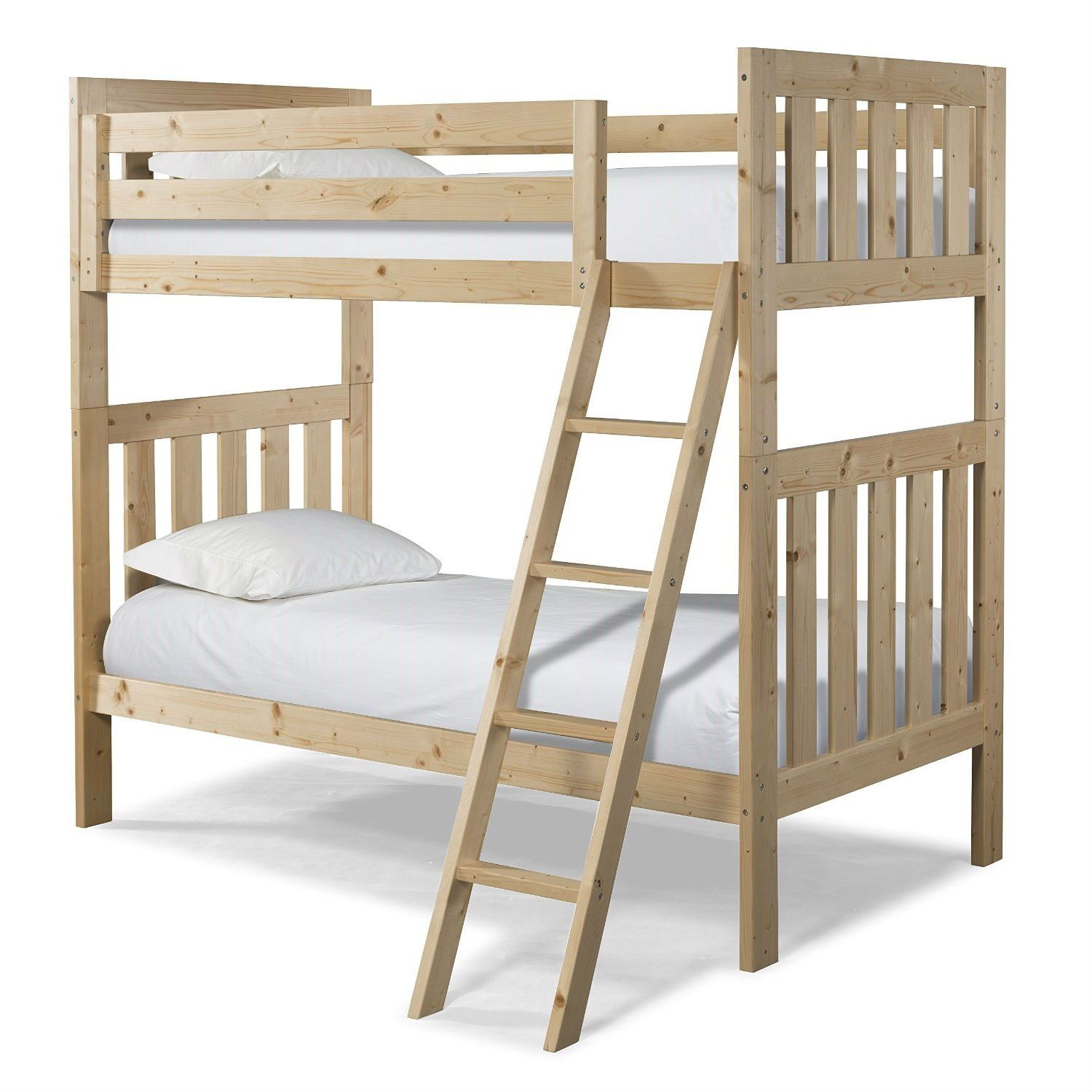 Twin over twin natural pine wood bunk bed with ladder bunk bed