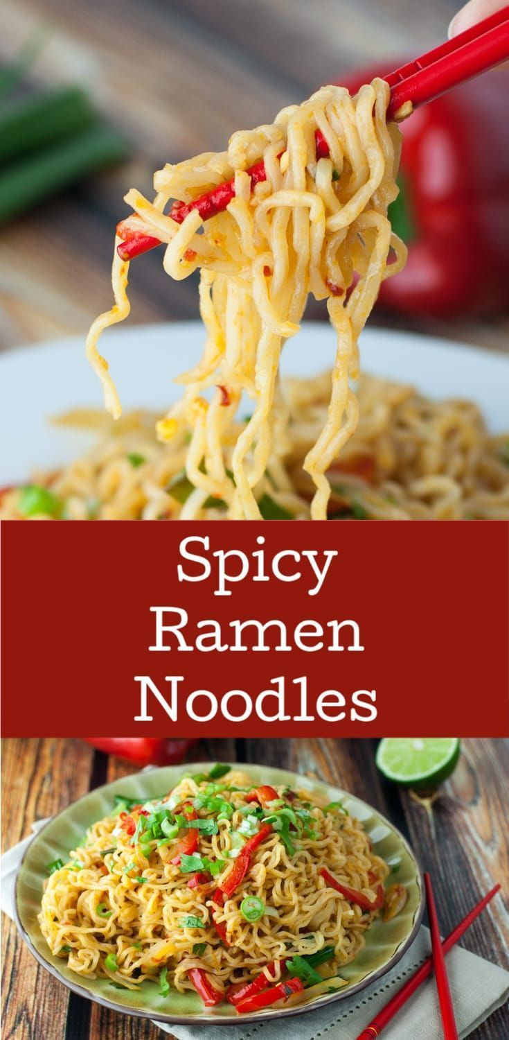 Spicy Ramen Noodles ~ This recipe is quick, easy, and unique. Hot and spicy with sweet onions, cilantro and freshly squeezed lime juice. #ramenrecipes #vegetarianrecipes #Asianrecipes #spicynoodles