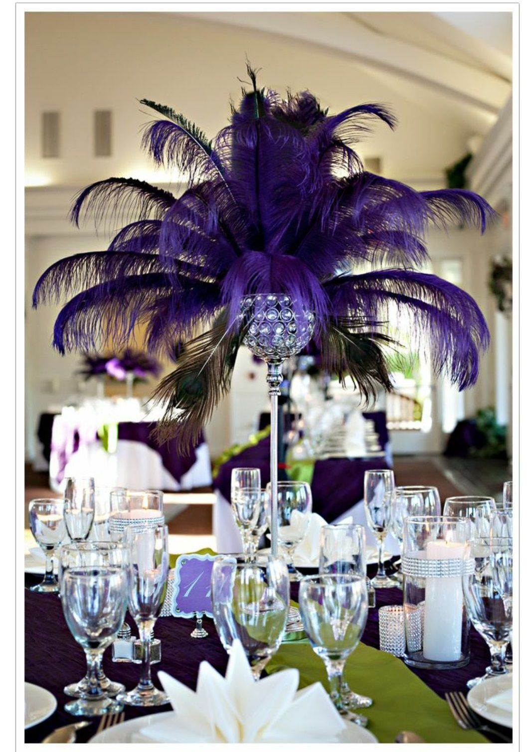 Purple Ostrich Feather Centerpieces In 2019 Dark Purple