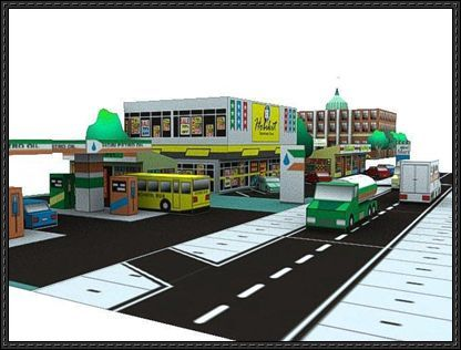 Urban City: Retail Business Free Building Paper Models Download