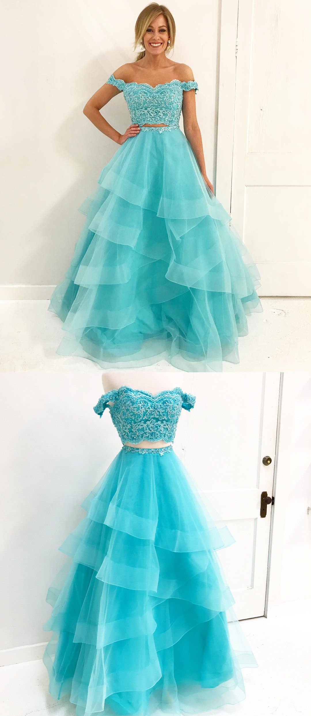 Off Shoulder Two piece Blue Long Prom Dress from dreamdressy ...