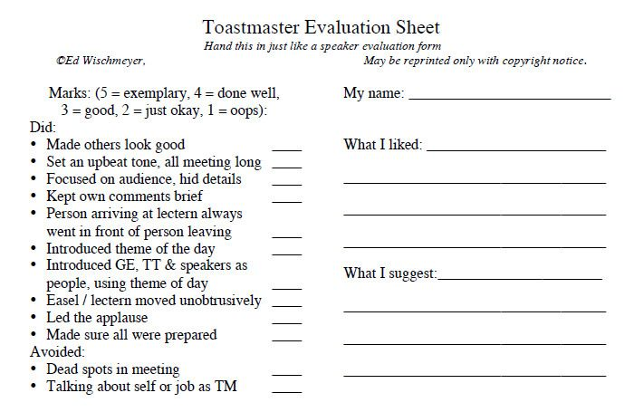 Nice Toastmasters Evaluation Template Images >> How To Have A ...