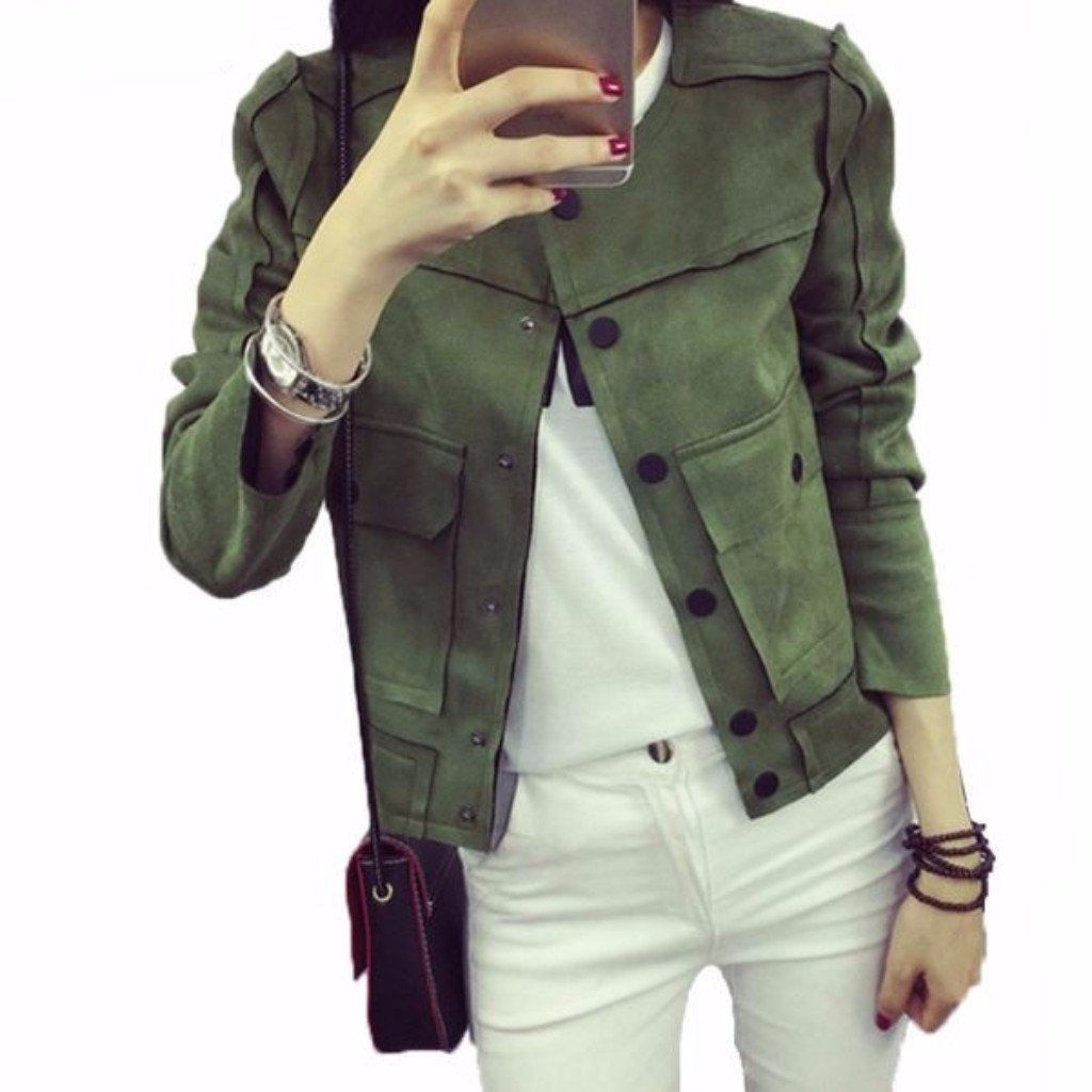 Vintage Slim Leather Suede Women Basic Short Jackets Short Jacket Suede Jacket Women Jackets Fashion Casual [ 1024 x 1024 Pixel ]