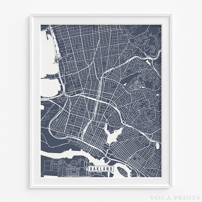 OAKLAND CALIFORNIA Street Map Wall Art Poster