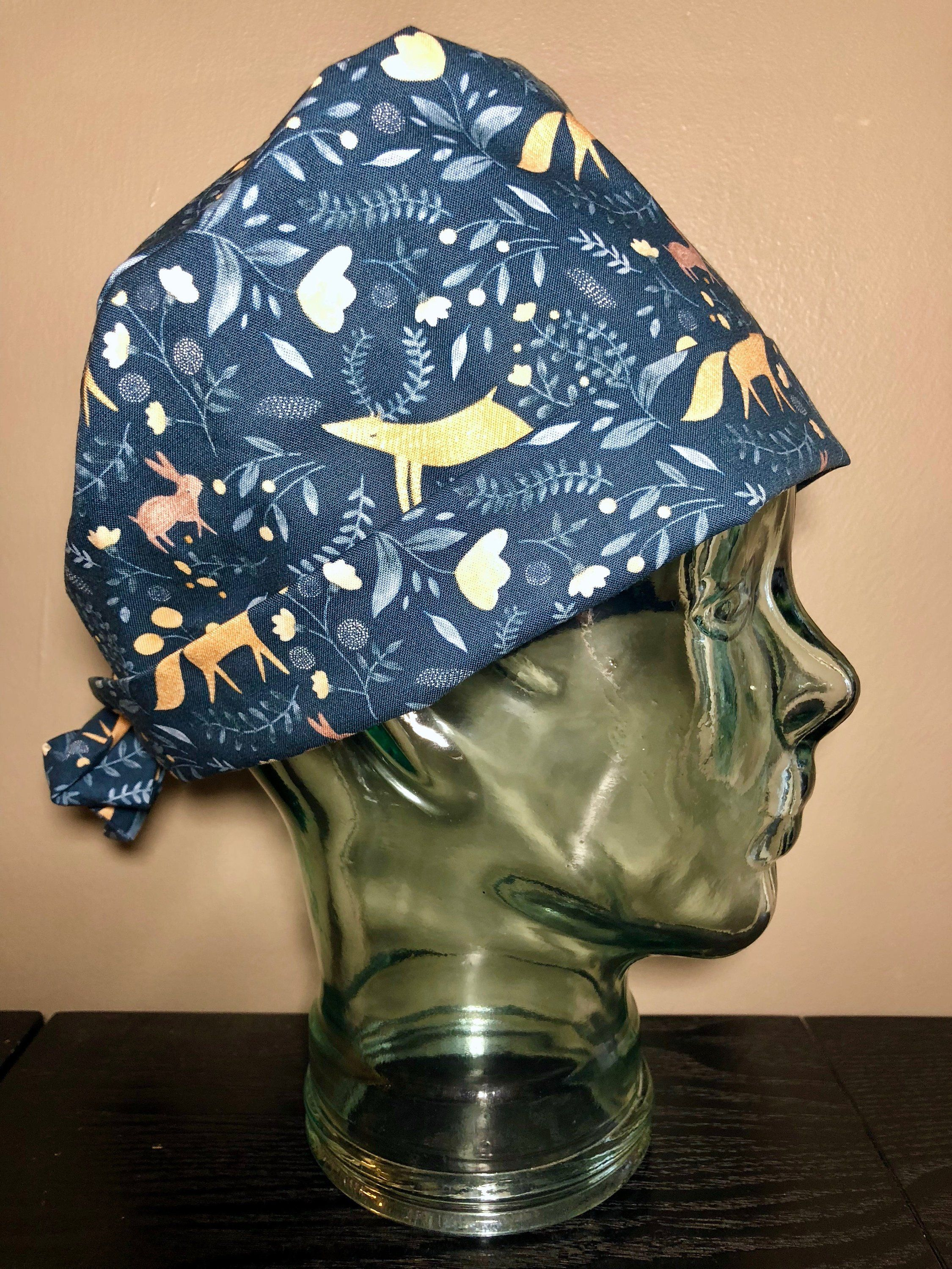 cb7c1dce1193d Woodland Meadow on Navy Blue Surgical Scrub Hat