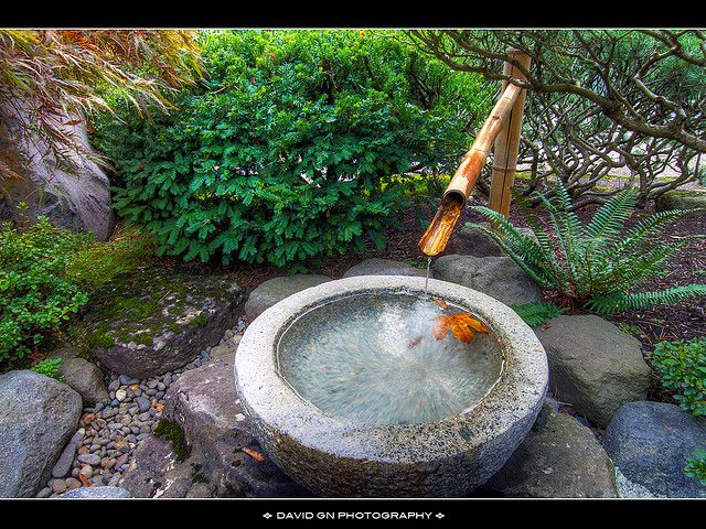 Kakehi bamboo fountain in portland japanese garden for Japanese garden water feature