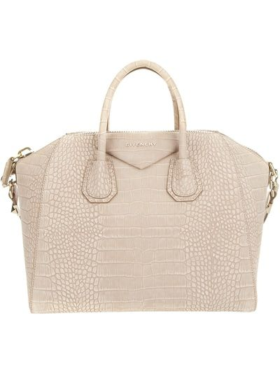 fb876f50cbdf GIVENCHY - Antigona Tote Cream crocodile skin embossed leather  Antigona   tote from Givenchy featuring two rolled top handles