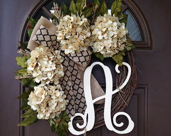 Wreath  Wreaths  Outdoor Monogrammed Wreath   Year Round Front Door Wreaths    All Season